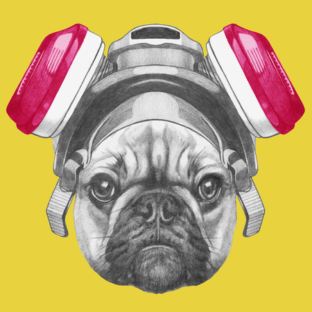 Portrait of French Bulldog with gas mask. Hand drawn illustration. Vector