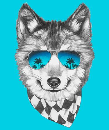 ミラー サングラスとスカーフの狼の肖像画。ベクトル。