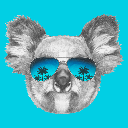 Hand drawn portrait of Koala with mirror sunglasses. Vector isolated elements.