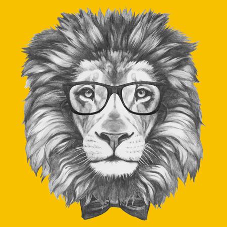 Portrait de Lion avec des lunettes et un noeud papillon. Isolé sur fond coloré