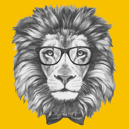 Portrait of Lion with glasses and bow tie. Isolated on colored background Ilustração