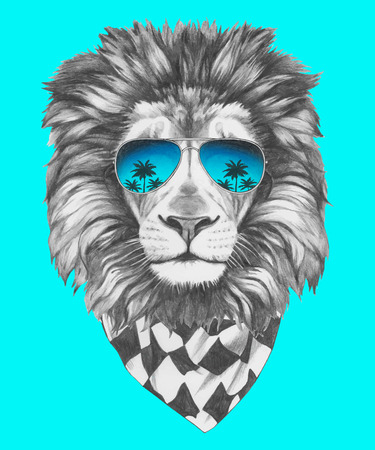 reflection mirror: Hand drawn portrait of Lion with sunglasses and scarf. Vector isolated elements. Illustration