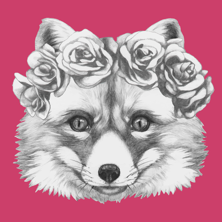 Hand drawn portrait of Fox floral head wreath. Vector isolated elements.