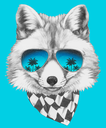 Portrait of Fox with mirror sunglasses and scarf. Hand drawn illustration.