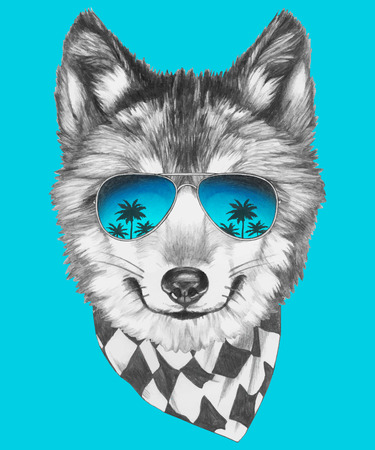 ミラー サングラスとスカーフの狼の肖像画。ベクトル