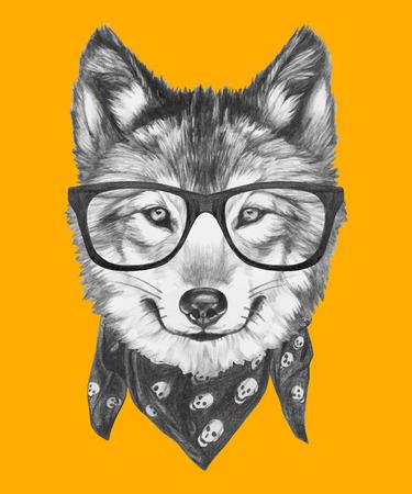 メガネとスカーフ狼の肖像画。ベクトル  イラスト・ベクター素材