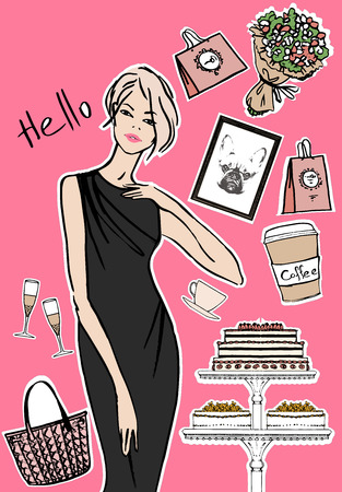 boutique display: Fashion, Tea and Coffee. Vector isolated elements.