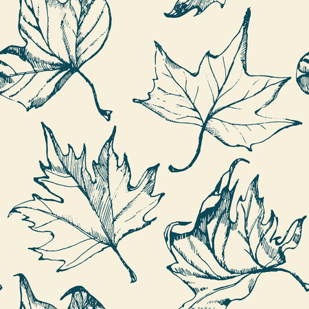 Hand-drawn seamless pattern with leaves. Vector.