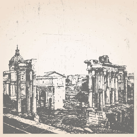 Hand-drawn illustration of Rome. Roman Forum. Italy. Vector.