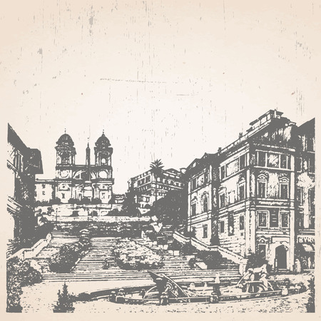 Hand-drawn illustration of Rome. Spanish Steps. Italy. Vector. Illustration