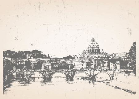 italian culture: Hand-drawn illustration of Rome. Italy. Vector. Illustration