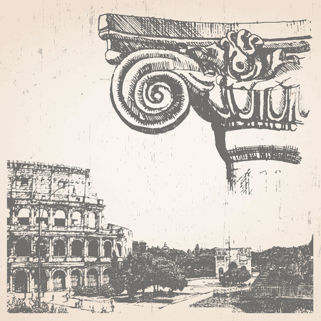 Hand-drawn illustration of Rome. Coliseum. Vector.