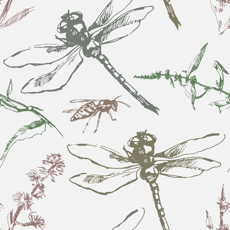 wasp: Hand-drawn seamless pattern with dragonfly, wasp and plants. Vector. Illustration