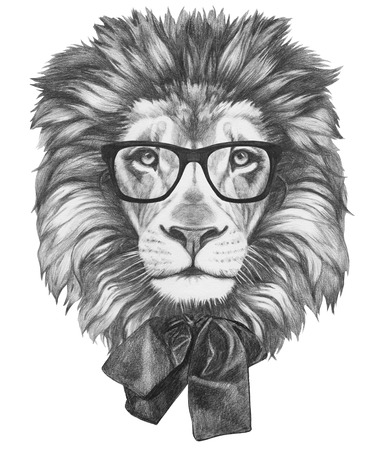 illustration cool: Original drawing of Lion with glasses and bow. Isolated on white background. Stock Photo