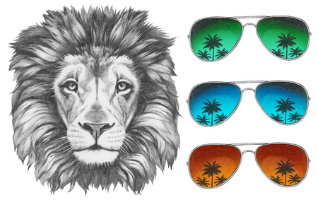 Original drawing of Lion with sunglasses. Isolated on white background