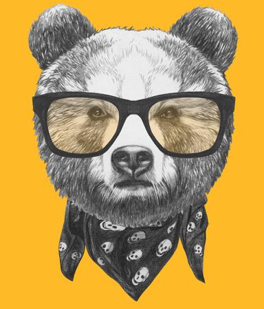 メガネでクマの元の図面。色付きの背景に分離 写真素材