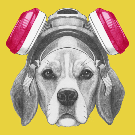 Portrait of Beagle Dog with gas mask. Hand drawn illustration. 版權商用圖片