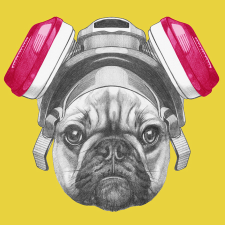 Portrait of French Bulldog with gas mask. Hand drawn illustration.