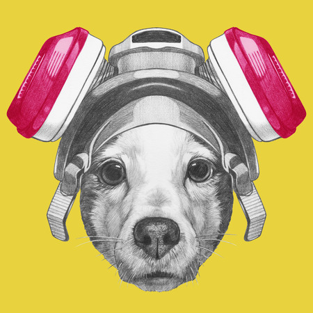 Portrait of Jack Russell Terrier Dog with gas mask. Hand drawn illustration.