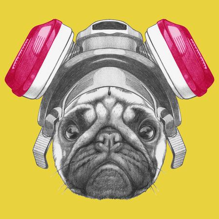 Portrait of Pug Dog with gas mask. Hand drawn illustration. 版權商用圖片