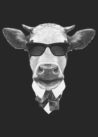 Portrait of Cow in suit. Hand drawn illustration.