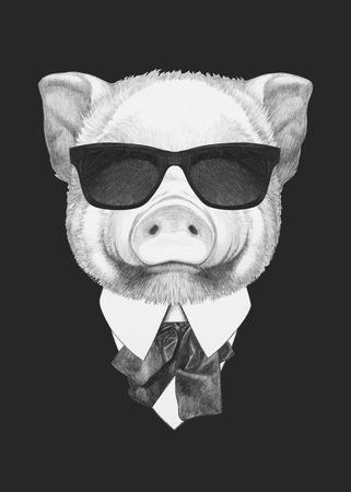 Portret van Piggy in pak. Hand getekende illustratie.