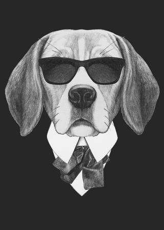 スーツのビーグル犬の肖像画。手描きのイラスト。