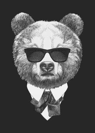 スーツでクマの肖像画。手描きのイラスト。