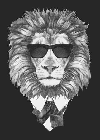 スーツでライオンの肖像画。手描きのイラスト。