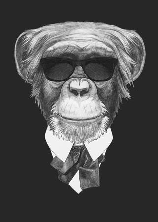 monkey suit: Portrait of Monkey in suit. Hand drawn illustration.