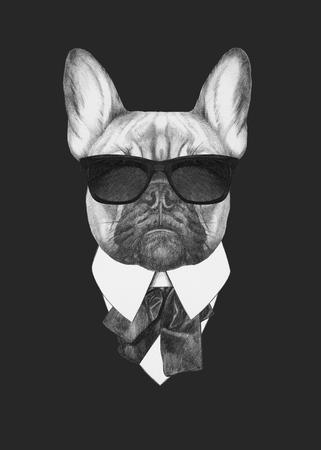Hand drawn fashion Illustration of French Bulldog. Vector isolated elements.
