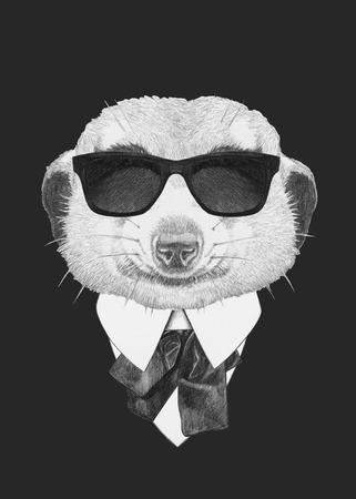 meerkat: Portrait of Meerkat in suit. Hand drawn illustration. Stock Photo