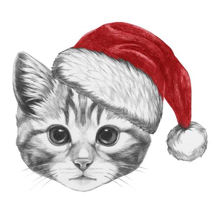 Portrait of Cat with Santa Hat. Hand drawn illustration.