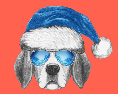 Portrait of Beagle Dog with Santa Hat and sunglasses. Hand drawn illustration. Banco de Imagens