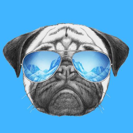 Portrait of Pug Dog with mirror sunglasses. Hand drawn illustration. Banco de Imagens
