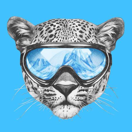 snow leopard: Portrait of Leopard with ski goggles. Hand drawn illustration.