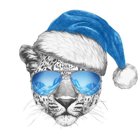 snow leopard: Portrait of Leopard with Santa Hat and sunglasses. Hand drawn illustration.