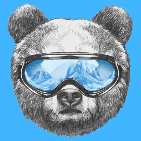 スキーのゴーグルとクマの肖像画。手描きのイラスト。