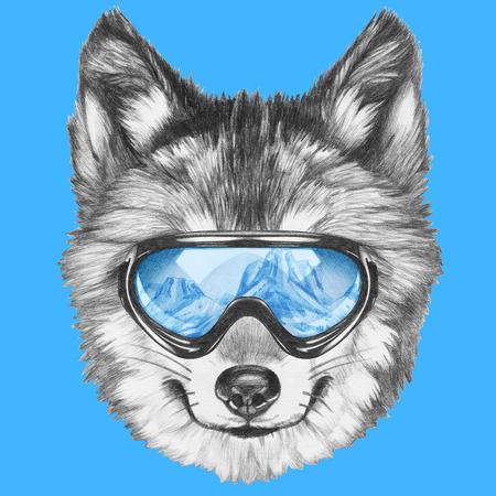 スキーのゴーグルと狼の肖像画。手描きのイラスト。