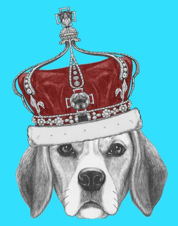 クラウンとビーグル犬の肖像画。手描きのイラスト。 写真素材