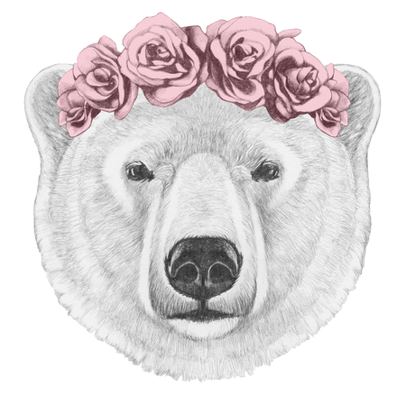 Portrait of Polar Bear with floral head wreath. Hand drawn illustration. Stock Photo