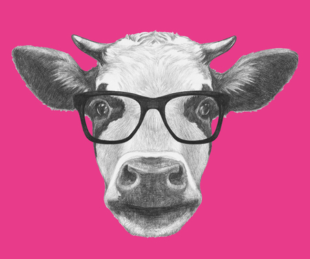 Portrait of Cow with glasses. Hand drawn illustration. Stockfoto - 113576579