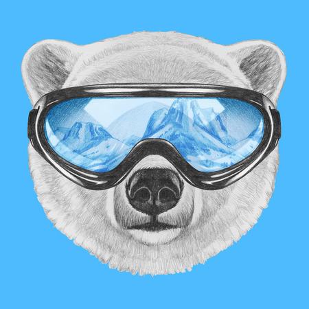 スキーのゴーグルとシロクマの肖像画。手描きのイラスト。