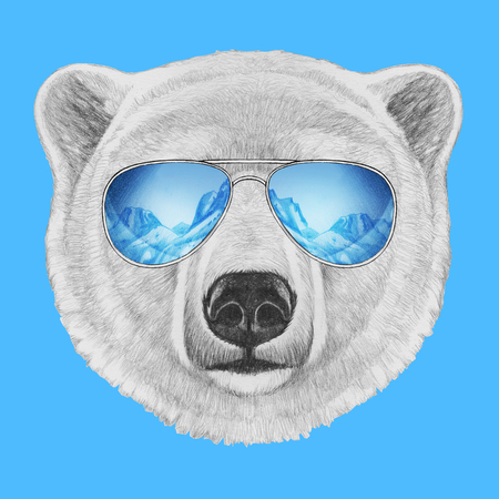 Portret van ijsbeer met spiegelzonnebril. Hand getrokken illustratie.