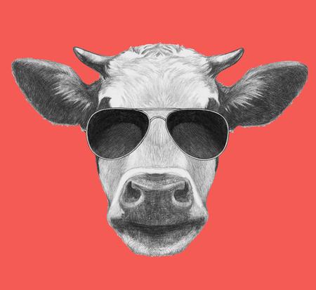 Portrait of Cow. Hand drawn illustration. Banco de Imagens