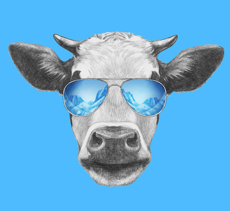 Portrait of Cow. Hand drawn illustration. Stock Photo