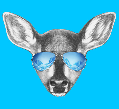 Portrait of Fawn with mirror sunglasses. Hand drawn illustration.