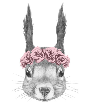 Portrait of Squirrel with floral head wreath. Hand drawn illustration.