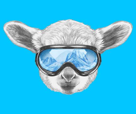 ski goggles: Portrait of Lamb with ski goggles. Hand drawn illustration. Stock Photo