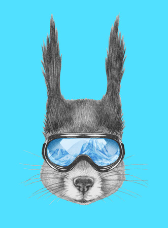 Portrait of Squirrel with ski goggles. Hand drawn illustration.